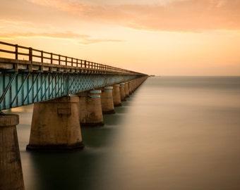 Seven Mile Bridge In Marathon Florida Keys At Sunset Fine Art Photography Long Exposure
