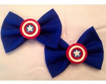 Captain America hair bow