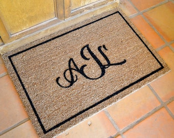 PERSONALIZED MONOGRAM  Doormat … Hand Painted Coir Mat with Your Initials ... 2 SIZES