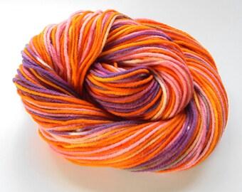 COSTUME BALL - Worsted-Weight Merino Yarn - 3.5 ounces & 198 yards - Orange, Purple, Pink Hand dyed Merino Yarn