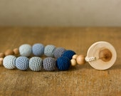 Nursing Necklace with Pendant, Teething Necklace - Gray, Navy Blue, Gradient - Wooden Teether, Juniper - FrejaToys