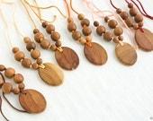 Wooden Nursing Necklace, Wood Pendant, Baby Teether, Breastfeeding, Babywearing - Applewood
