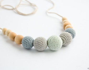 Petite Teething / Babywearing / Breastfeeding Necklace, Wood Teether, Grey, Mint, Soft Colors - FrejaToys