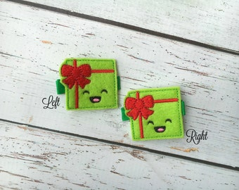 Christmas Present Hair clip gift hair clippie Pick one or two. Pick Left side or Right.