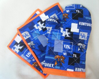 Large Wildcats Fabric Quilted Potholders - Set of 2 - HANDMADE BY ME