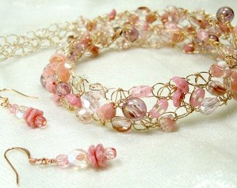 Pink Crocheted Wire Necklace Set, bead crochet necklace, handmade beaded jewelry