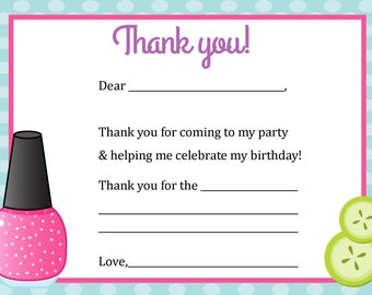 Thank You Card - Spa Theme - Digital file - You print