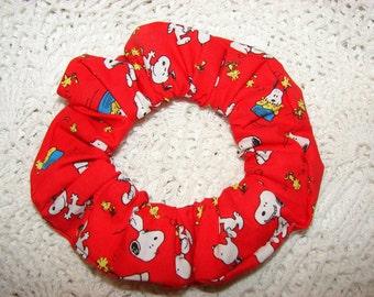 Snoopy Woodstock Peanuts Red Fabric Handmade Hair Scrunchie Disney