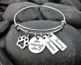 Who Rescued Who? - Rescue Mom - Adjustable Bangle Bracelet - Personalized