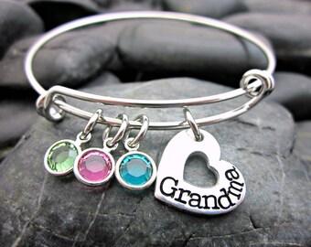 Adjustable Bangle Bracelet - Grandmother's Bracelet - For Grandma - Heart and Birthstone