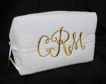 Personalized Bridal Party Cosmetic Bag - Bridesmaid Makeup Bag - Waffle Weave Spa Bag - Great Gift - Shown with Monogram and Gold Writing