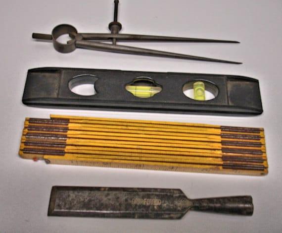4 Vintage Men Tools Drafting Tool Wood Rule 8 Level