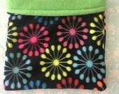 Neon Bursts Fleece with Green Fleece Snuggle Bag