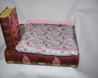 SALE Dapper Flamingos Flannel and Light Pink Fleece Snuggle Bag