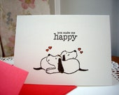 happy valentine's day card, dog valentine card, dog card,  you make me happy, just next to you,  fun valentine card