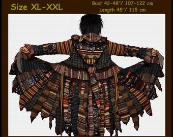 Elf coat, women eLF sWEATER, size XL, size XXL, Zipper Cardigan, women hoodie, sweater coat, patchwork , Sweater Jacket, OOAK, dream coat
