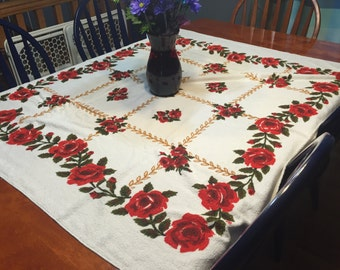 Vintage White with Red Flowers Printed Kitchen Dining Luncheon Table Cloth for housewares by MarlenesAttic