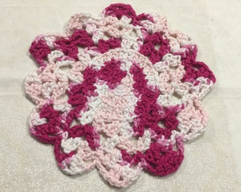Vintage 9 inch round Pink and White hand crochet doily for crafts, shabby chic, housewares, linen, trim, valentines, by MarlenesAttic