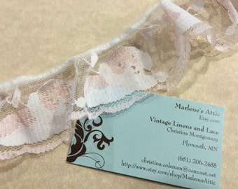 1 yard of 2 inch White and Pink Ruffled Chantilly Lace trim for bridal, baby, lingerie by MarlenesAttic - Item 3M