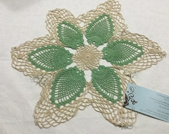 Vintage 14 inch round Hand crochet green and ivory doily for housewares, home decor, st patricks day, crafts, shabby chic by MarlenesAttic