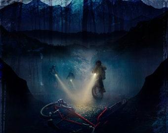 Stranger Things Print - Grunge/Night sky