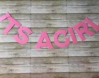 Glitter It's a GIRL banner - pink glitter - its a girl, - baby showers - shower banner - pink glitter theme - girl baby showers - shower