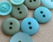 simple basic eco friendly cottage chic aqua blue, seafoam and mint green buttons--mixed lot of 9