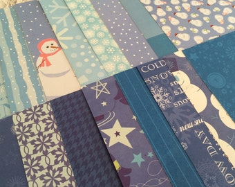 Winter Scrapbook Paper Pack, Snowman, Penguin, Snowflakes, Blue and White 6x6 Paper Stack - 32 Sheets