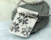 Fine Silver Pendant with Oak Leaf Pattern on Delicate Silk Necklace