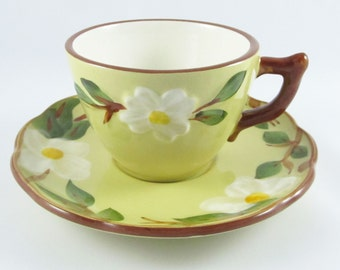 Stangl White Dogwood Cup and Saucer Vintage Stangl Pottery Dinnerware