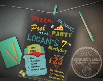 Boy's Pizza Pajama & Pool Swim Party Slumber Sleepover Birthday Invitation Printable