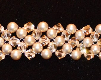 Swarovski Pearl and Crystal Seed Beads Right Angle Weave Bracelet Made To Order