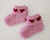 Valentine Booties - Pink with red hearts - hand knitted