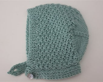 Mint Textured Baby Bonnet - Size to 6 months - Pure Wool