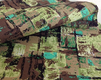 Vintage 1964 modern print fabric by Dupont green browns over 1.5 yards