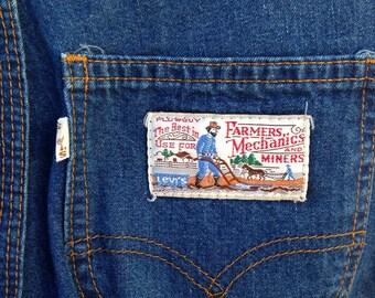 Vintage Levi's blue jeans high waist Farmers Mechanics and Miners sz 26W
