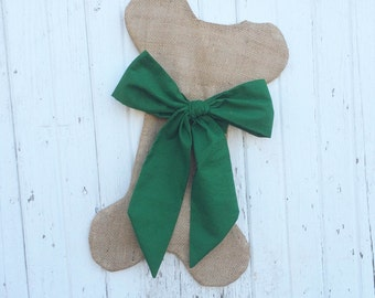 Burlap Dog Bone Christmas Stockings With Bow- For Her-Puppy/Dog Stocking-Choose Your Colors-Rustic/Shabby Chic/Natural-Red and Green