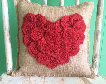 "13"" x 13"" Burlap Rosette Heart Pillow- Shabby Chic/Folk/Country/Rustic-Choose Your Color Combo-Cabin Decor-Cottage Decor-Beach Home Decor"