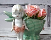 Vintage Bisque Doll Kewpie Flirty Flapper Molded Hair - Frozen Legs Jointed Arms 1930's Made in Japan
