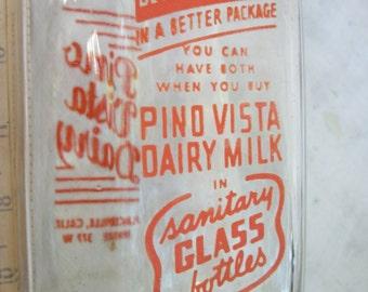 Pino Vista Dairy Placerville California  ~ Dairy Collectible ~ Very Cool ~ Milk Bottle ~ Orange Graphics ~ 1960's / 1950's era