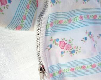 Feather Pillowcase ~ Cover ~ Cottage Farmhouse ~ Blue & White Stripes with Rosebud Flowers ~ Primitive Metal Zipper / Vintage Ticking