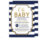 Navy and Gold Baby Shower Invitation - Boy Baby Shower Invitation - Oh Baby Invitation -Printable - Baby Sprinkle - Couple Shower