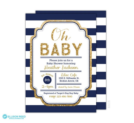 Navy And Gold Baby Shower Invitation Boy Baby Shower