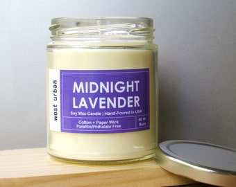 Soy Candle, Scented Jar, Home Decor, Gift, Container Candle, MIDNIGHT LAVENDER