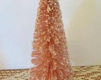 """Flocked bottle brush tree, 7-1/2"""",pink,vintage shabby cottage style,glittered"""