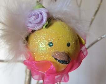 1 Easter ornament,easter decor,easter chick, easter tree ornament,shabby cottage ornament,tree display only