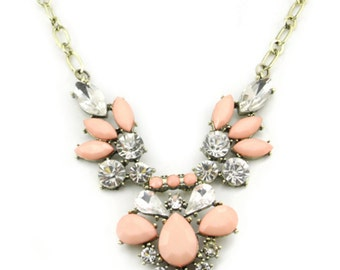 Coral Chunky Crystal Necklace