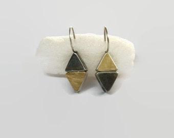 Gold Triangle Earring Drops,  Small Pyramid  Dangle Earrings, Harlequin Gold Silver Drops,  Aritisan Handmade by Sheri Beryl Stud Earrings
