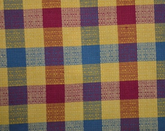 Vintage Plaid Fabric, Textured Fabric, Checked Fabric, Squares, Geometric Fabric, Heavy Cotton Fabric by the Yard - 1 Yard - CFL1901