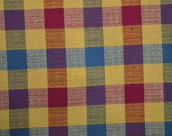 Vintage Plaid Fabric by the Yard, Textured Fabric, Checked Fabric, Squares, Geometric Fabric, Heavy Cotton Fabric - 1 Yard - CFL1901